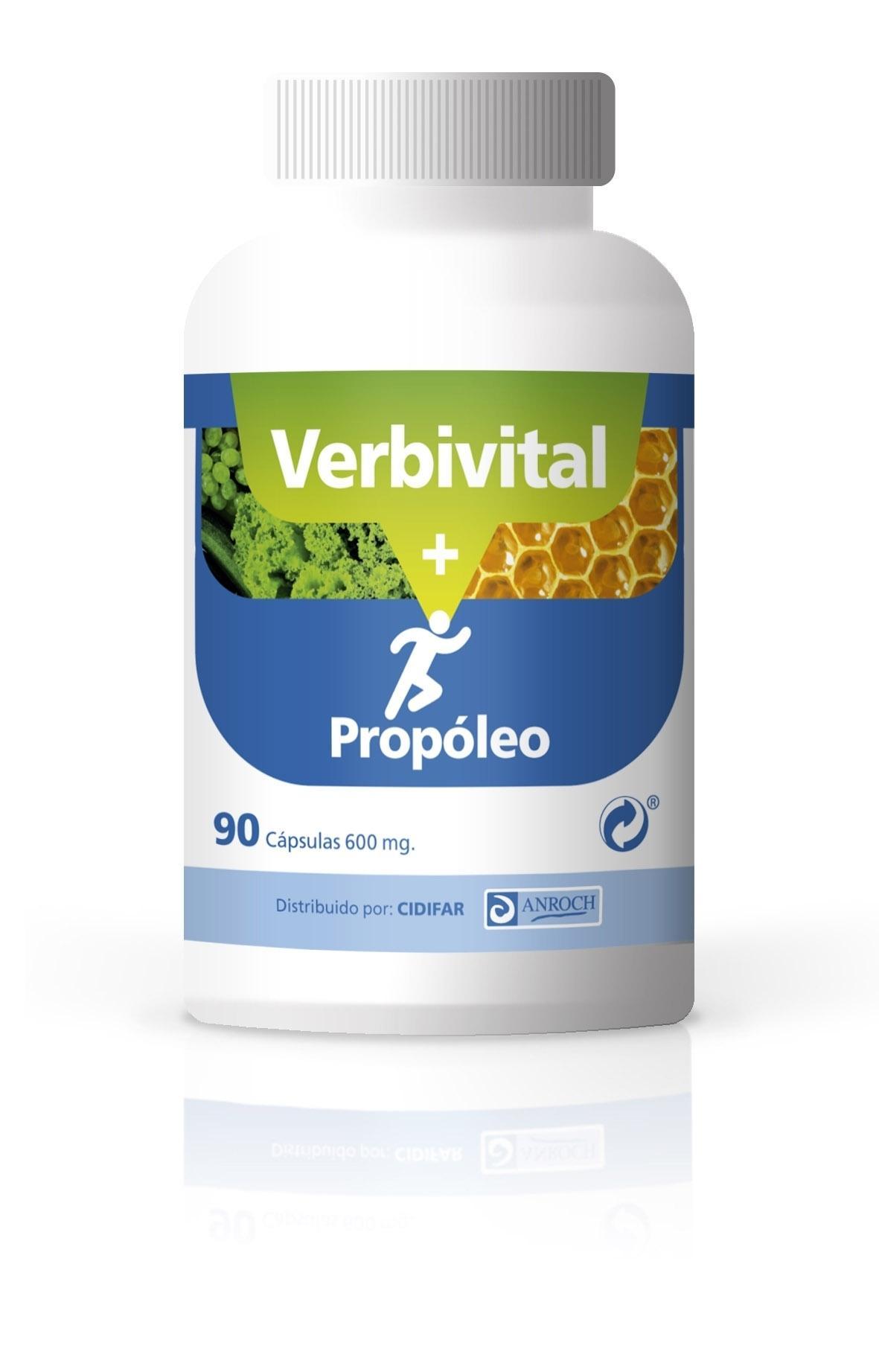 VERBIVITAL + PROPÓLEO, 90 cápsulas de 600 mg.